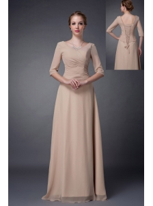 Customize Champagne Empire V-neck Mother Of The Bride Dress Chiffon Beading Floor-length