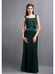 Customize Hunter Green Square Neck Bridesmaid Dress