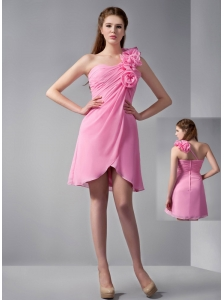 Customize Rose Pink Empire One Shoulder Hand Made Flowers Bridesmaid Dress Mini-length Chiffon