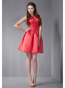 Customize Rust Red Mini-length Scoop Bridesmaid Dress under 100