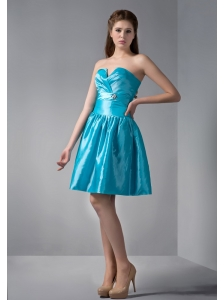 Customize Teal A-line V-neck Beading Bridesmaid Dress Mini-length Taffeta
