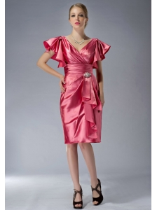 Customize Watermelon Red Column V-neck Mother Of The Bride Dress Knee-length Taffeta Beading