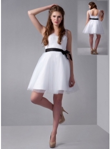 Customize White A-line V-neck Bow Bridesmaid Dress Mini-length Tulle and Taffeta
