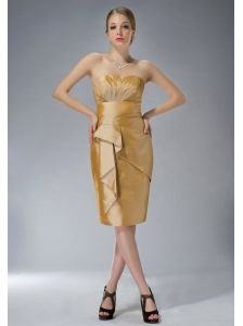 Customize Yellow Column Sweetheart Mother Of The Bride Dress Knee-length Taffeta Ruch