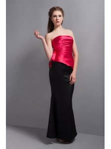 Elegant Hot Pink and Black  Floor-length Bridesmaid Dress Strapless