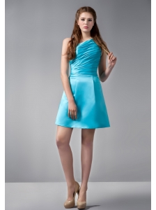 Exquisite Sky Blue A-line One Shoulder Ruch Bridesmaid Dress Mini-length Satin