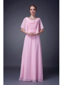 Lovely Baby Pink Empire V-neck Mother Of The Bride Dress Chiffon Beading Floor-length