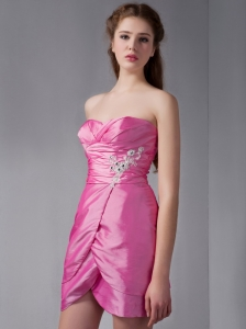 Lovely Rose Pink Column Sweetheart Mini-length Taffeta Appliques Bridesmaid Dress