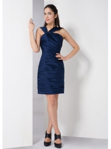 Low Price Navy Blue Column V-neck Ruch Bridesmaid Dress Mini-length Taffeta
