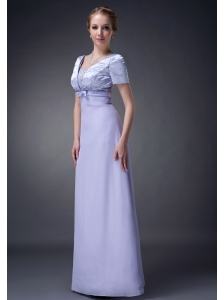 Modest Lilac Column V-neck Mother Of The Bride Dress Chiffon Beading Floor-length