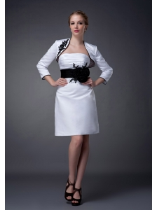 Modest White and Black Column Strapless Mother Of The Bride Dress Mini-length Satin Belt