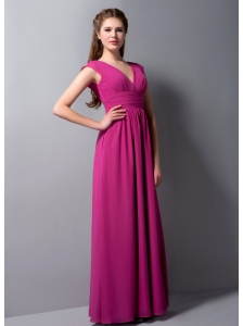 Perfect Fuchsia Chiffon V-neck Bridesmaid Dress