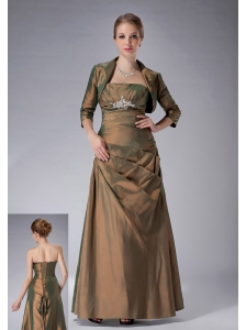 Popular Brown Column Strapless Mother Of The Bride Dress Ankle-length Taffeta Appliques