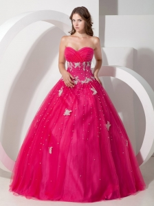 Pretty Hot Pink Sweetheart Quinceanera Dress with Appliques and Beading