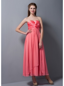 Pretty Watermelon Red Empire Strapless Hand Made Flower Bridesmaid Dress Ankle-length Chiffon and Taffeta