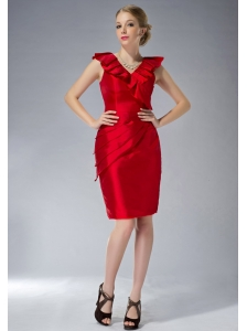 Simple Red Column V-neck Mother Of  The Dress Mini-length Taffeta Ruch