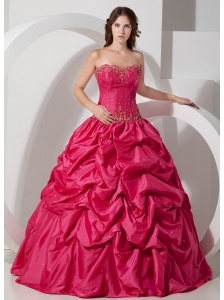 Beautiful Hot Pink Strapless Pick-ups Quinceanera Dress Taffeta Floor-length