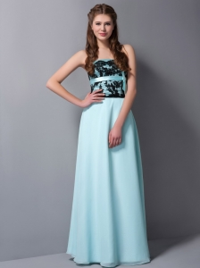 Beautiful Light Blue Chiffon Bridesmaid Dress with Black Lace