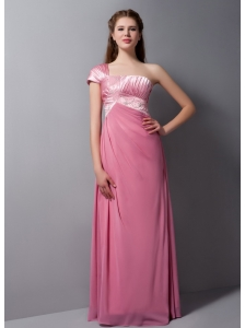 Formal Pink One Shoulder Bridesmaid Dress with Beading