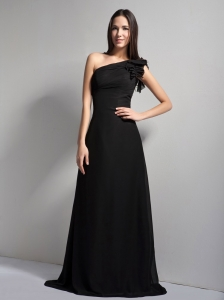 Brand New Black A-line One Shoulder Bridesmaid Dress Brush Train Chiffon