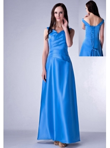 Brand New Sky Blue Cloumn V-neck Bridesmaid Dress Taffeta Ruch Ankle-length