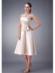 Cheap Champagne A-line / Princess Strapless Sash Bridesmaid Dress Tea-length Satin