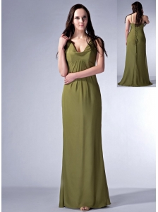 Cheap Olive Green Cloumn V-neck Bridesmaid Dress Chiffon Ruch Floor-length