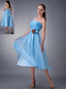 Custom Made Baby Blue A-line / Princess Bridesmaid Dress Strapless Hand Made Flower Tea-length Chiffon
