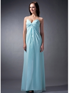 Custom Made Baby Blue Cloumn Sweetheart Bridesmaid Dress Chiffon Ruch Floor-length