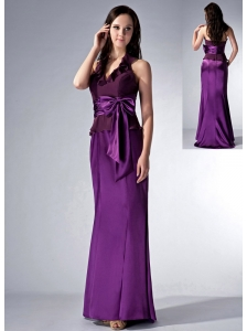Custom Made Eggplant Purple Cloumn Halter Bridesmaid Dress Bow Brush Train Elastic Woven Satin and Chiffon