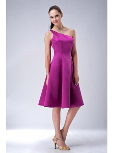 Custom Made Fuchsia A-line / Princess One Shoulder Bridesmaid Dress Satin Knee-length