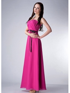 Custom Made Fuchsia Empire Strapless Bridesmaid Dress Chiffon Sash Ankle-length