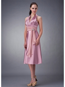 Custom Made Light Pink Empire Halter Bridesmaid Dress Satin Beading Tea-length