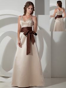 Customize A-line V-neck Bridesmaid Dress Satin Sash Floor-length