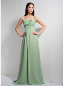 Customize Apple Green Empire Halter Ruch Bridesmaid Dress Brush Train Chiffon