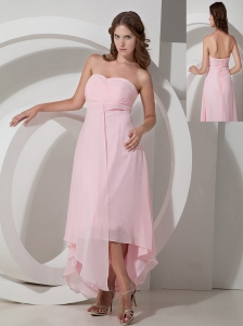 Customize Baby Pink Empire Strapless Bridesmaid Dress Asymmetrical Chiffon
