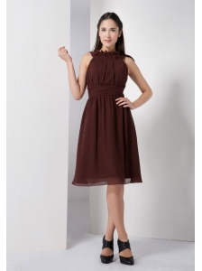 Customize Brown Empire Bateau Bridesmaid Dress Chiffon Ruch Knee-length