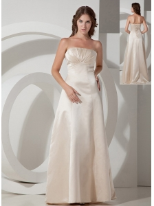 Customize Champagne A-line Strapless Bridesmaid Dress Satin Floor-length