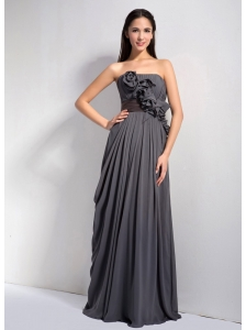 Customize Dark Grey Empire Strapless Hand Made Flowers Bridesmaid Dress Floor-length Chiffon