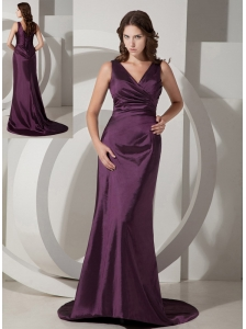 Customize Dark Purple Column / Sheath V-neck Bridesmaid Dress Taffeta Brush / Sweep Train
