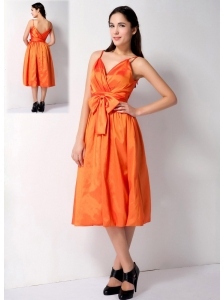 Customize Orange A-line Spaghetti Straps Bow Bridesmaid Dress Tea-length Taffeta