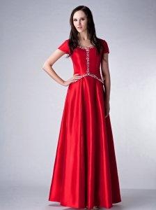 Customize Red Empire Scoop Bridesmaid Dress Satin Beading Floor-length