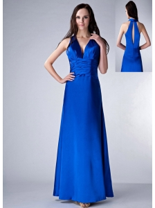 Customize Royal Blue Column V-neck Bridesmaid Dress Satin Ruch Ankle-length