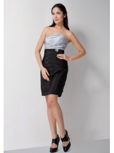 Customize Silver and Black Column Bridesmaid Dress Strapless Mini-length Taffeta