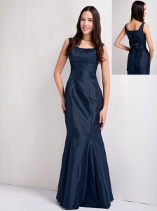 Elegant Navy Blue Mermaid Scoop Bridesmaid Dress Taffeta Ruch Floor-length
