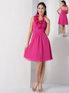 Hot Pink A-line Halter Bridesmaid Dress Chiffon Ruch Knee-length