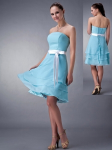 Impression Aqua Blue Empire Strapless Bridesmaid Dress Chiffon Sash Knee-length
