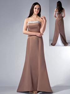 Brown Cloumn Strapless Bridesmaid Dress Satin Beading Rush Train