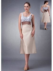 Informal Champagne Column Scoop Bridesmaid Dress Belt Satin Tea-length