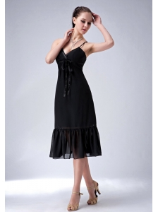 Lovely Black Column Straps Bridesmaid Dress Ruch Tea-length Chiffon